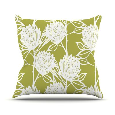 Protea Graphite Flowers Throw Pillow Size: 26 H x 26 W x 1 D, Color: Olive/White