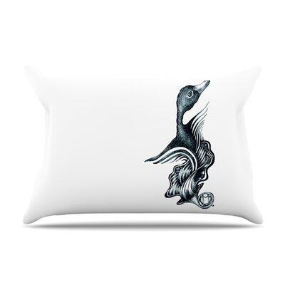 Swan Horns by Graham Curran Featherweight Pillow Sham Size: Queen, Fabric: Woven Polyester