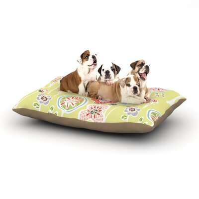 Gill Eggleston Folky Floral Dog Pillow with Fleece Cozy Top Size: Large (50 W x 40 D x 8 H), Color: Yellow