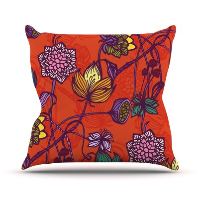 Garden Blooms Hot Orange Floral Throw Pillow Size: 18 H x 18 W x 1 D