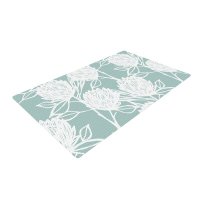 Gill Eggleston Protea Jade Flowers Blue/White Area Rug