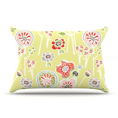 Folky Floral by Gill Eggleston Pillow Sham Size: Queen, Color: Green/Yellow, Fabric: Woven Polyester