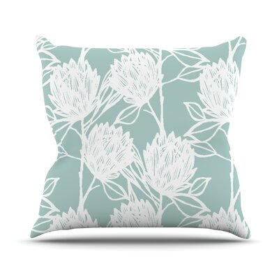 Protea Graphite Flowers Throw Pillow Size: 26 H x 26 W x 1 D, Color: Jade White