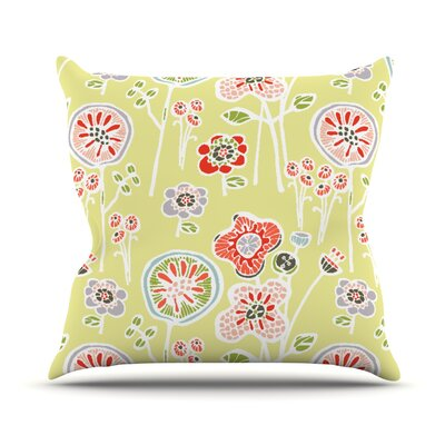 Folky Floral Throw Pillow Color: Green, Size: 18 H x 18 W