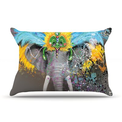 Geordanna Cordero-Fields My Elephant with Headdress Gray Rainbow Featherweight Sham Size: King, Fabric: Woven Polyester