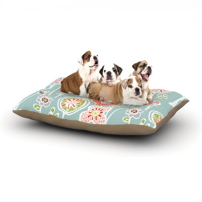 Gill Eggleston Folky Floral Dog Pillow with Fleece Cozy Top Size: Large (50 W x 40 D x 8 H), Color: Blue