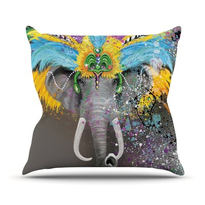 My Elephant with Headdress Rainbow Outdoor Throw Pillow Size: 18 H x 18 W x 3 D