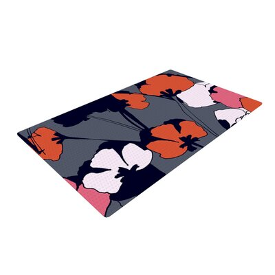 Gabriela Fuente Pop Flowers Gray/Orange Area Rug Rug Size: 2 x 3