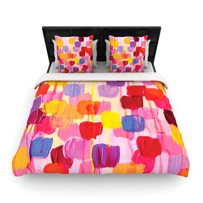 Dotty in Pink Woven Comforter Duvet Cover Size: King