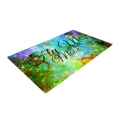 Ebi Emporium Fly Me to the Moon Green/Blue Area Rug Rug Size: 4 x 6