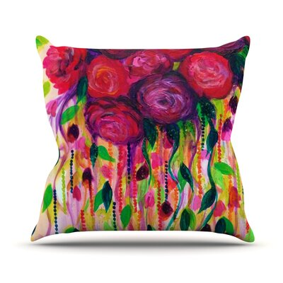 Roses by Ebi Emporium Throw Pillow Size: 26 H x 26 W x 5 D