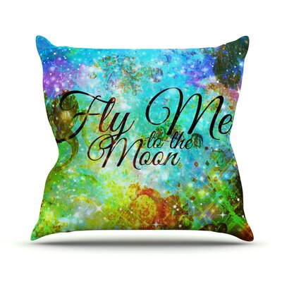 Fly Me To The Moon by Ebi Emporium Throw Pillow Size: 18 H x 18 W x 3 D