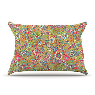 Julia Grifol My Butterflies & Flowers In Green Rainbow Floral Pillow Case