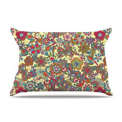 My Butterflies & Flowers by Julia Grifol Featherweight Pillow Sham Size: Queen, Fabric: Woven Polyester