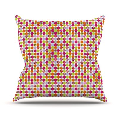 Happy Circles Throw Pillow Size: 18 H x 18 W x 4.1 D