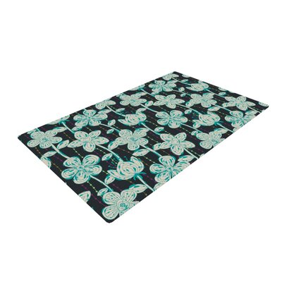 Julia Grifol My Spotted Flowers Black/Blue Area Rug Rug Size: 2 x 3
