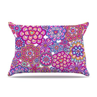 My Happy Flowers by Julia Grifol Featherweight Pillow Sham Size: Queen, Color: Yellow, Fabric: Woven Polyester