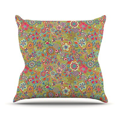 My Butterflies and Flowers by Julia Grifol Rainbow Floral Throw Pillow Size: 26 H x 26 W x 5 D, Color: Green