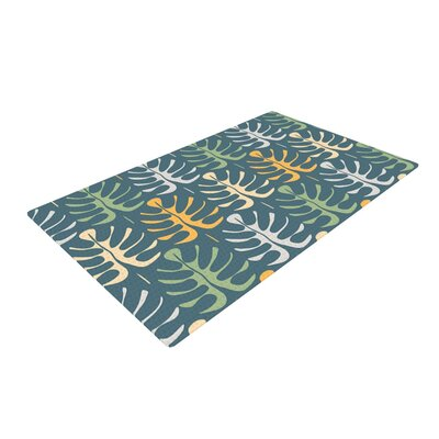 Julia Grifol My Leaves Blue Area Rug Rug Size: 2 x 3