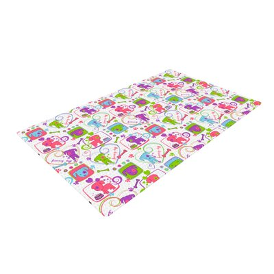Julia Grifol My Loving Dogs Green/Purple Area Rug Rug Size: 4 x 6