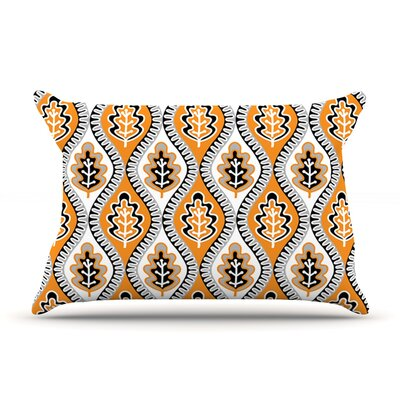 Jacqueline Milton Oak Leaf Floral Pillow Case Color: Orange