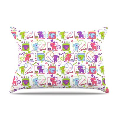 My Loving Dogs by Julia Grifol Featherweight Pillow Sham Size: Queen, Fabric: Woven Polyester
