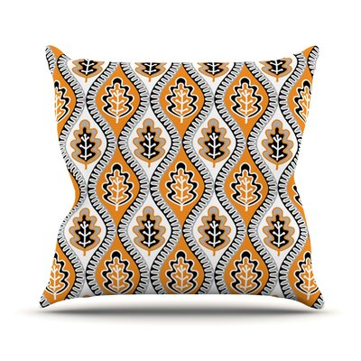 Oak Leaf by Jacqueline Milton Floral Throw Pillow Size: 16 H x 16 W x 3 D, Color: Orange