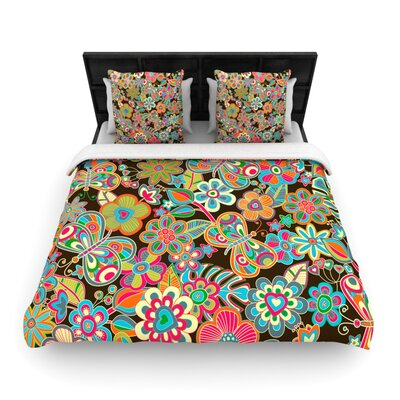 My Butterflies & Flowers Woven Comforter Duvet Cover Size: Twin