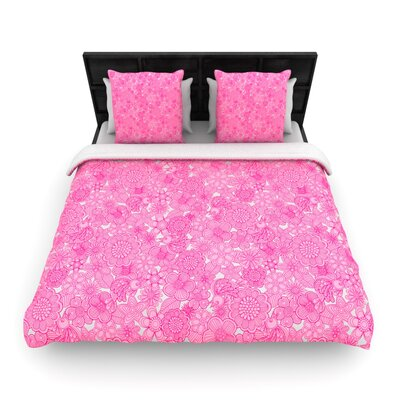 Welcome Birds To My Pink Garden Woven Comforter Duvet Cover Size: King
