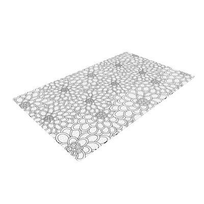 Julia Grifol Flowers White Area Rug Rug Size: 4 x 6
