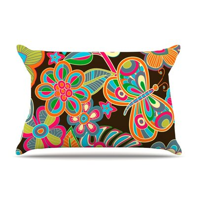 My Butterflies & Flowers by Julia Grifol Featherweight Pillow Sham Size: King, Fabric: Woven Polyester