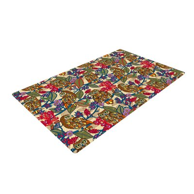 Julia Grifol My Boobooks Owls Gray/Red Area Rug Rug Size: 2 x 3