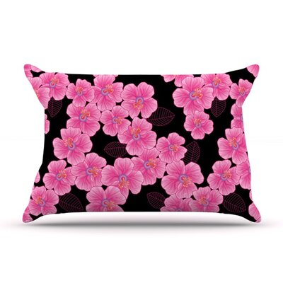 Pink on Black by Julia Grifol Featherweight Pillow Sham Size: Queen, Fabric: Woven Polyester