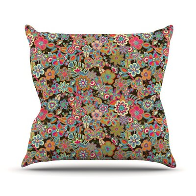 My Butterflies and Flowers by Julia Grifol Rainbow Floral Throw Pillow Size: 16 H x 16 W x 3 D, Color: Green