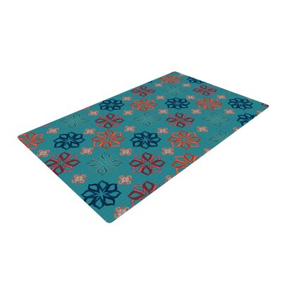 Jolene Heckman Mini Flowers Teal/Turquoise Area Rug Rug Size: 4 x 6