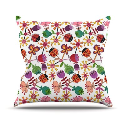 Garden Floral by Jane Smith Plants Bugs Throw Pillow Size: 18 H x 18 W x 3 D