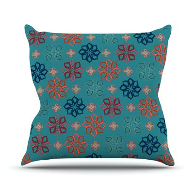 Turquoise Mini by Jolene Heckman Flowers Throw Pillow Size: 18 H x 18 W x 3 D