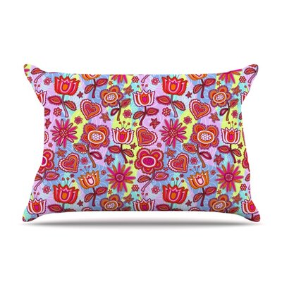 My Folk Flowers by Julia Grifol Featherweight Pillow Sham Size: Queen, Fabric: Woven Polyester