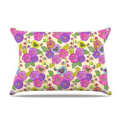 My Birds and My Flowers by Julia Grifol Featherweight Pillow Sham Size: King, Fabric: Woven Polyester