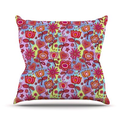 My Folk Flowers by Julia Grifol Throw Pillow Size: 26 H x 26 W x 5 D