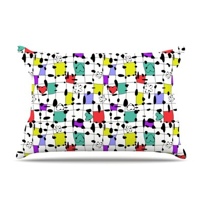 My Happy Squares by Julia Grifol Featherweight Pillow Sham Size: King, Fabric: Woven Polyester