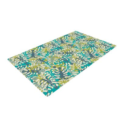 Julia Grifol Tropical Leaves Blue/Green Area Rug Rug Size: 2 x 3