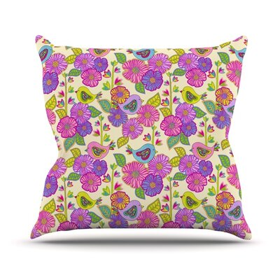 My Birds and My Flowers by Julia Grifol Throw Pillow Size: 26 H x 26 W x 5 D