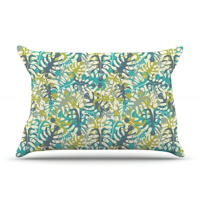 Tropical Leaves by Julia Grifol Featherweight Pillow Sham Size: Queen, Fabric: Woven Polyester