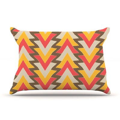 Julia Grifol My Triangles Pillow Case Color: Red/Orange