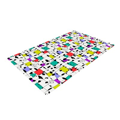 Julia Grifol My Happy Squares White/Yellow Area Rug Rug Size: 2 x 3
