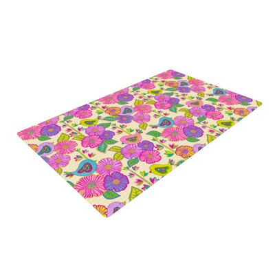 Julia Grifol My Birds and My Flowers Yellow/Pink Area Rug Rug Size: 2 x 3
