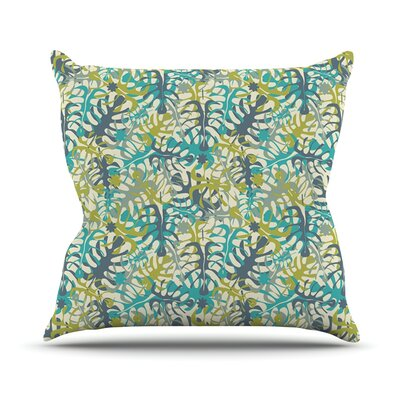 Tropical Leaves by Julia Grifol Throw Pillow Size: 18 H x 18 W x 3 D