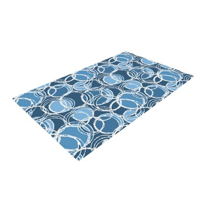 Julia Grifol Simple Circles Blue Area Rug Rug Size: 4 x 6