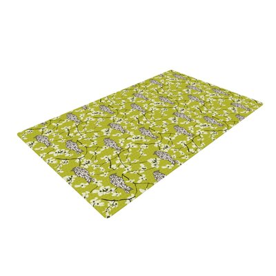 Julie Hamilton Blossom Bird Green/White Area Rug Rug Size: 4 x 6